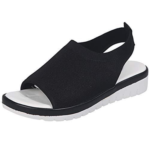 ♥YWLINK Zapatos Mujer CuñA Moda TamañO Grande Transpirable con Malla Tejida Volando Zapatos Casuales Sandalias Fiesta En La Playa Antideslizante CóModo Verano 2019 Regalo del DíA De Miembro