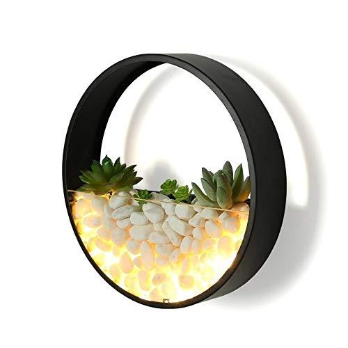 CHNOI Nueva moderna lámpara de pared LED dormitorio cabecera decoración metal pared apliques pared redonda montado flores artificiales piedra