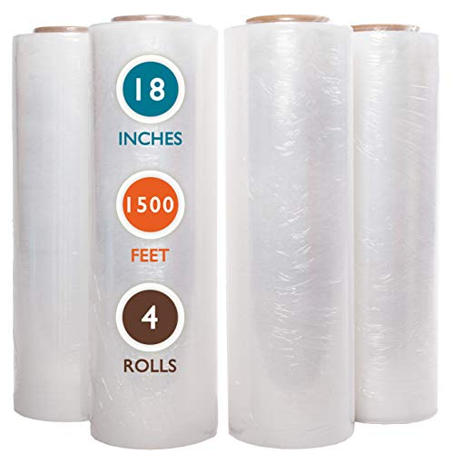 """PackageZoom 4 Rolls 18"""" x 1500 Ft Stretch Wrap Heavy Duty, Industrial Strength Shrink Wrap, 55 Gauge High Performance Stretch Film Replaces 80 Gauge Low Films, Clear Hand Stretch Wrap"""