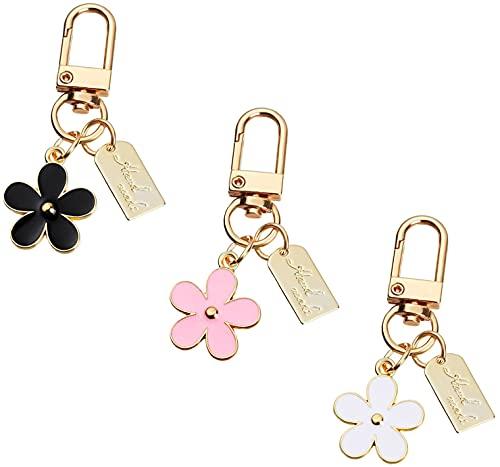 3 Pcs Keychains for Women, Bag Charm Flower Key Chain Car Key Ring Pendant for Purse , Handbag Bag , Earphone Case Decoration