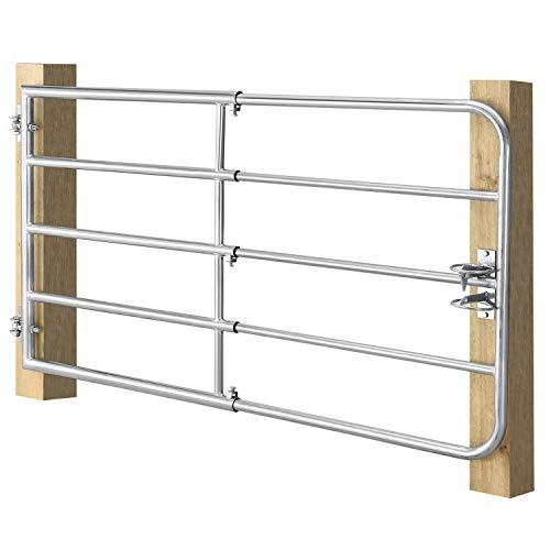 Juskys Weidezauntor SafeGate S verstellbar mit Scharnieren & Riegel aus Stahl | verzinkt | 170 x 90 cm | Metall Weidetor Weidezaun Zauntor ausziehbar