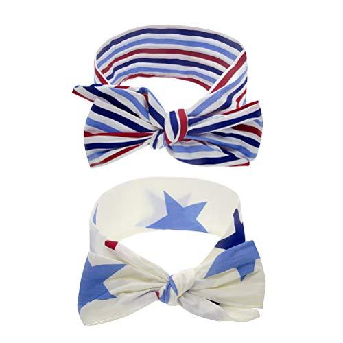 Amosfun 2pcs Bandeau Américain Jour De L'Indépendance Star Stripes Bowknot Motif Élastique Bande De Cheveux Cravates Cheveux Head Wrap Coiffe