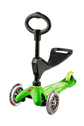 Micro® Mini 3en1 Deluxe Plus. Patinete evolutivo 3 Ruedas, 1,5 - 5 años, Manillar Regulable 48-68cm, Asiento de Aprendizaje. (Verde)