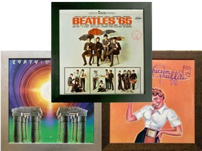 Frame My Collection Three Record Album Frames (3 Pack Special) Solid Wood Black Frame UV Glass Wall Hanging Easy Mount