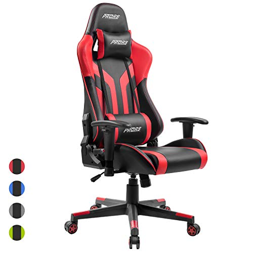 PRORS Gaming Chair, High-Back PU Leather Office Chair with Headrest and Adjustable Lumbar Support,Ergonomic Computer Swivel Chair for Teens and Adults-Red