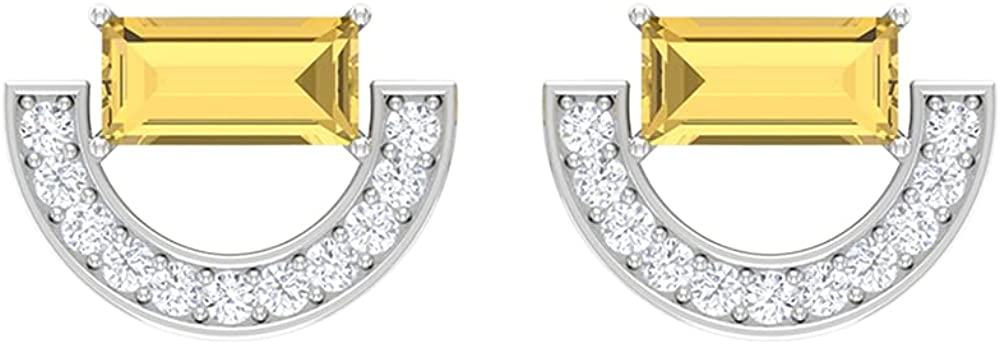 1/2 CT Minimal Crescent Stud Earrings with Baguette Citrine and Diamonds (AAA Quality), Screw back