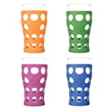 Lifefactory LF340400C4 20-Ounce BPA-Free Indoor/Outdoor Beverage Glass with Protective Silicone Sleeve, 4-Pack, Multicolor