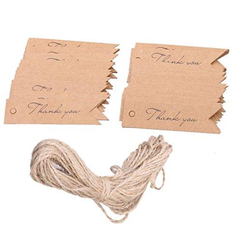 ultnice 100piezas de papel Kraft etiquetas colgantes de papel para gracias etiquetas de regalo boda favor colgar etiqueta