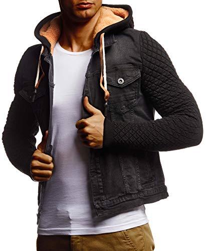 Leif Nelson Herren Jeansjacke schwarz Jeans Jacke für Männer Freizeitjacke Übergangsjacke mit Kapuze Hoodie Kapuzenjacke verwaschen Casual Slim Fit LN9630 LN9630 Schwarz Medium