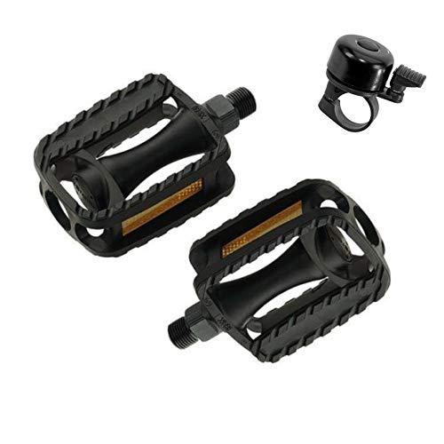 maxxi4you Angebot-Set / 1 Paar Kinderfahrrad Pedale Union SP-698K 1/2 Zoll - Fahrradpedale MTB Schwarz inkl. 1 Fahrradglocke