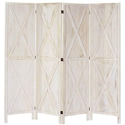 iVilla 5.8 Ft Tall Wood Room Divider, 4 Panel Rustic Folding...
