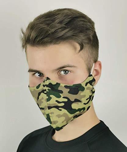 Mund und Nasenbedeckung waschbar mit Fach für FFP Filter grün Army Militär Camouflage 100% Baumwolle hergestellt in Deutschland mit Gummibändern
