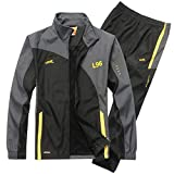 Men's Casual Tracksuit Long Sleeve Full Zip Running Jogging Sweatsuit Athletic Sports Set,Black,XXXL