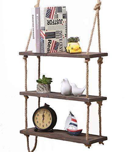 Estante colgante de madera maciza para pared con cuerdas, estilo rústico y clásico, Dark, 3 Shelves