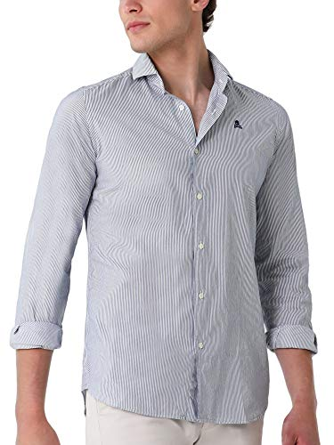 Scalpers Camicia Cotone con Teschio A Contrasto - Blue Stripes / 42