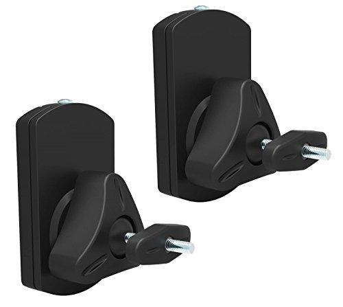 RICOO Lautsprecher Wandhalterung LH038 Universal Boxen Halterung Wand Stativ Wandhalter Lautsprecherhalterung Schwenkbar Neigbar Lautsprecherhalter Paar 2 Stück Schwarz