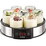 VonShef Digital Yoghurt Maker with 7 Jars – Electric, Compact, Stainless Steel Machine with LED Display & Timer, 180ml Glass Containers/Yoghurt Pots - for Making Fresh, Healthy Homemade Desserts