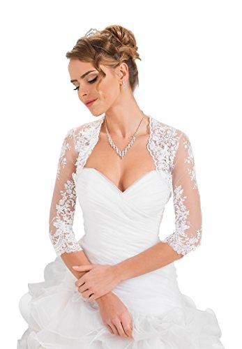 OssaFashion Damen Hochzeit Top Spitzen-Jacke für die Braut Spitzen Bolero Bolerojäckchen Jacke 3/4 Langer Ärmel