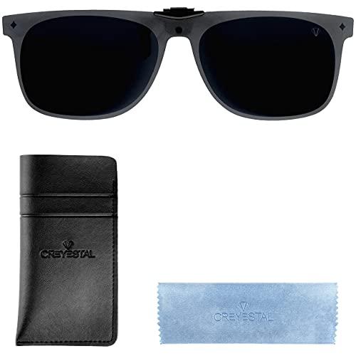 CREYESTAL Clip Gafas de Sol Polarizadas, Clip para Gafas para Sol, Clip Solar, Abatible y Ultraligero, Hombre, Mujer, 100% Anti-UV, Certificado CE