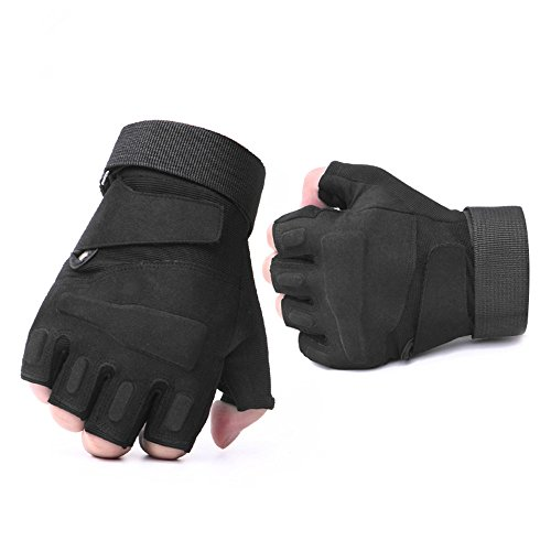 Leegem Best Specialized Black Hard Knuckle Road Cycling Mountain Bikes BMX Weightlifting Boxing Rock Climbing Shooting Hunting Tactical Training Motorcycles Riding Gloves for Adults/Youth (Black, M)