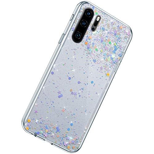 Herbests Kompatibel mit Huawei P30 Pro Hülle Silikon Bling Glänzend Glitzer Strass Diamant Sterne Pailletten TPU Silikon Schutzhülle Durchsichtig Handyhülle Clear Case Tasche,Lila Blau