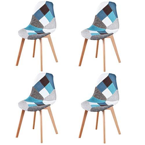 N/A Juego de 4 sillas de comedor, tapizado patchwork retro, comedor, cocina, dormitorio, silla de oficina (azul)