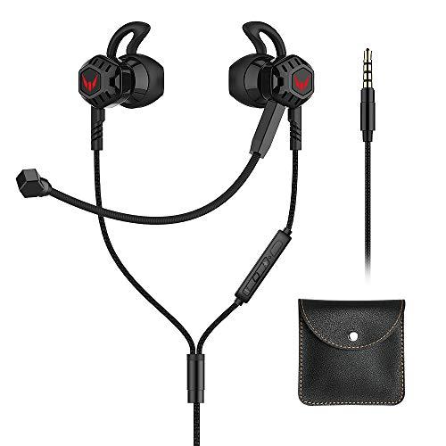 Fone de ouvido Gamer Langsdom G100X Intra-Auricular Earphones com Controle e Microfone para NS, PS4, Xbox one, Celulares,Tablets,Laptops (Preto)