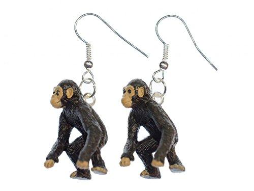 Schimpanse Affe Ohrringe Miniblings Hänger Affen Dschungel Zoo Gummi klein