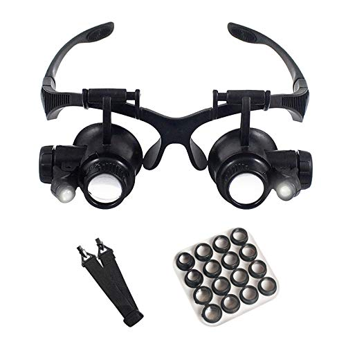 Vcedas Watch Repair Magnifier Upgraded Version Glasses Magnifying with 8 Interchangeable Lens 2.5X 4X 6X 8X 10x 15x 20x 25x Headband Magnifier for Jeweler (2.5X 4X 6X 8X 10x 15x 20x 25x)