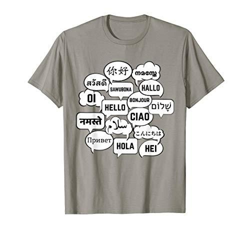 Multilingual 'Hello' Polyglot Globetrotter Language Lover T-Shirt