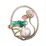 JXtong2 Spilla Spilla Boutique Lotus brodo di Loto al Chiaro di Luna di Alta qualità con zircone Perla da Donna