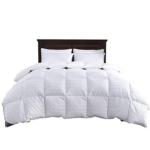 puredown Comforter-Full/Queen-Cotton Shell 500TC-Stripe White