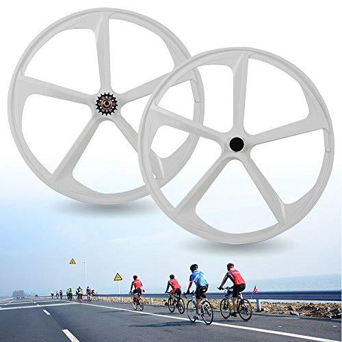 DYRABREST 700c Fixed Gear Bike Wheel,High Duty Magnesium Alloy 5 Spoke Fixed Gear Rim with Flip-Flop Shock Absorption Bike Spoke Wheel Rim for Fixed-Gear Bikes and Single-speeds US Stock (White)