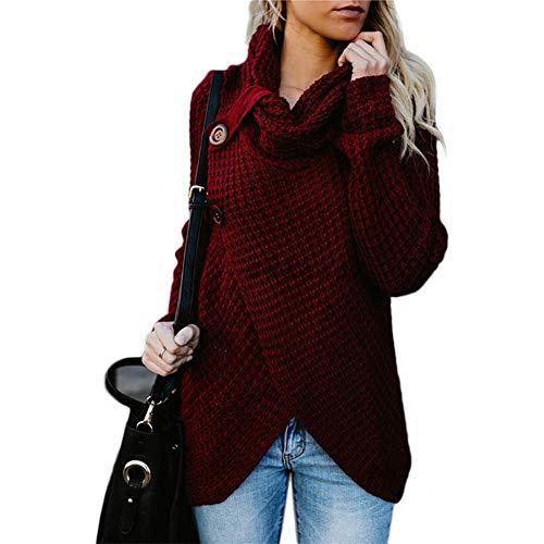 Huaheng gebreide trui voor dames, lange mouwen, onregelmatig zoom, knop, locker, top voor herfst 5XL wijnrood
