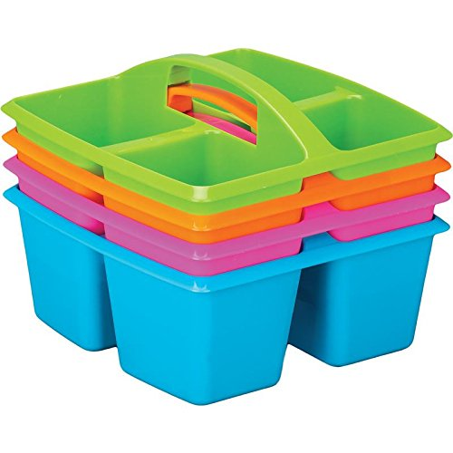 Really Good Stuff 4-Compartment Caddies – Set of 4, Neon Colors, Equal-Sized Compartments – Color-Coding Tables or Group Work – Built-in Handles – Home Organization - Stackable for Storage