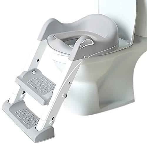 MRG トイレトレーニング ベビートイレ 子供用 補助便座 踏み台 トイレステップ おまる トイレトレーナー トイレ 便座 幼児 折りたたみ やわらかクッション 練習 ベビー ステップ (ホワイト×グレー)