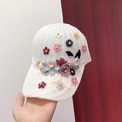PKYGXZ Sombrero Hecho a Mano Gorra de béisbol Femenina Flor Simple Sombrero para el Sol Transpirable Gorra con Visera Informal de Todo fósforo Gorras Planas para Exteriores Visera cálida