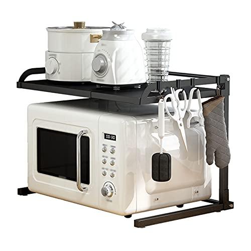 JKXWX Microondas Ampliable Horno de Horno Extensión Horizontal Estante de microondas Estante de encimera de Cocina con 4 Ganchos Contador de contadores Soporte Mueble microondas