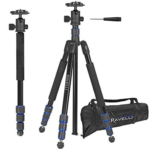 Ravelli APGL5 - 165cm Trípode Profesional para Cámaras de Foto y Video,Rótula y Zapata de Cambio Rápido y Bolsa de Transporte, color negro