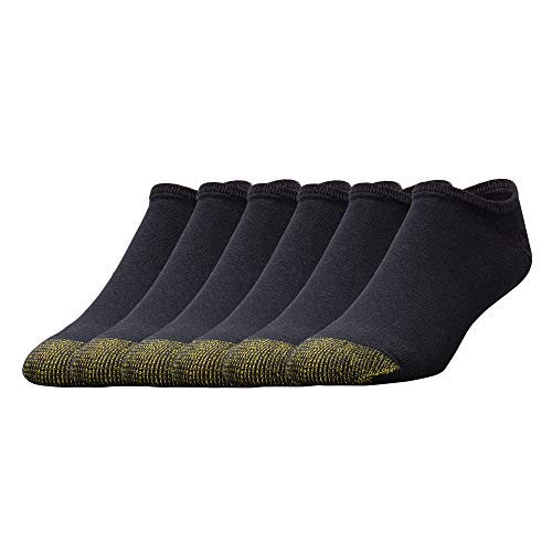 Gold Toe Herren 656f Baumwolle No Show Athletic Socken Multipair, Schwarz (6 Paar), Large