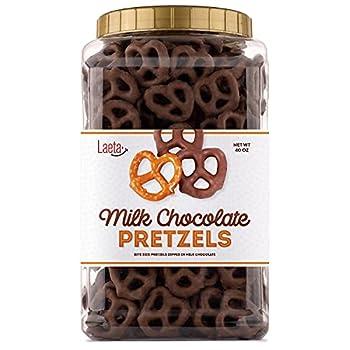 LaetaFood Milk Chocolate Covered Pretzels Salted Pretzels in Smooth Milk Chocolate 40 Ounces