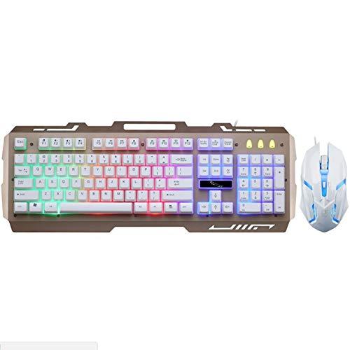 Pomebb Persiguiendo teclado G21 leopardo Ronda Iluminado manija mecánica retroiluminado juego teclado USB Ratón Teclado Gaming Keyboard Set Silencio mecánica del juego teclado 104 teclas teclado tácti
