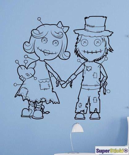 SUPERSTICKI Voodoo poppen jongen meisjes groet Horror Muurtattoo ca 60 x 60 cm Hobby Deco Decoratie A1062 van high-performance folie sticker autosticker tuningsticker hoge prestaties
