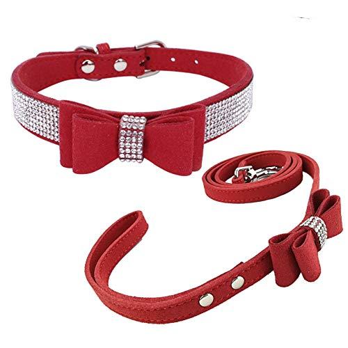 Newtensina Collare di cane di moda e guinzaglio con fiocco Guinzaglio del collare del cucciolo di Bling con l'arco per il cane