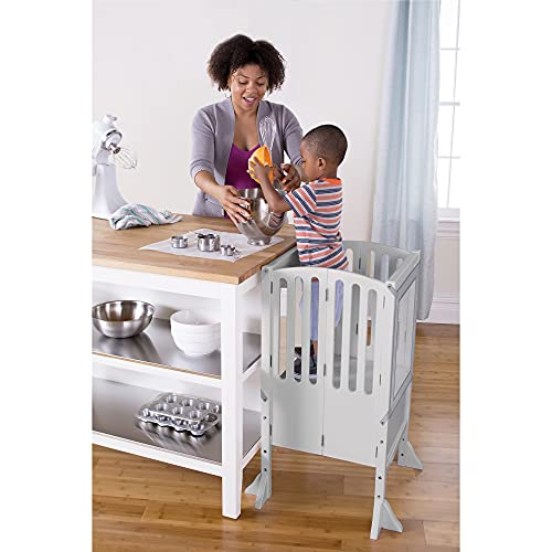 Guidecraft Contemporary Kitchen Helper Stool and 2 Keepers - Gray: Adjustable Height Wooden Step Stool for Toddlers