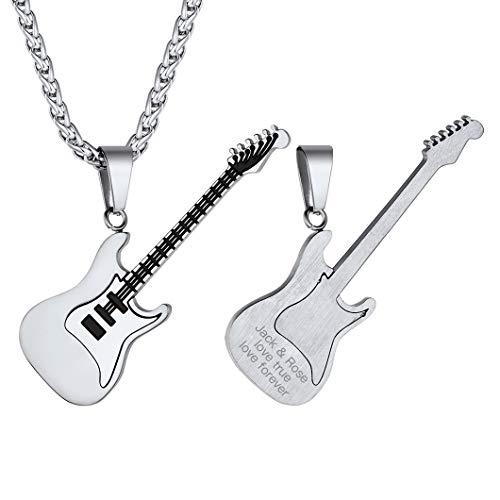 Suplight Collar Musical Colgante Guitarra Rock Eléctrica de Acero Inoxidable 316L Collares Modernos de Hombres Mujeres de Músicos Instrumentos Accesorios