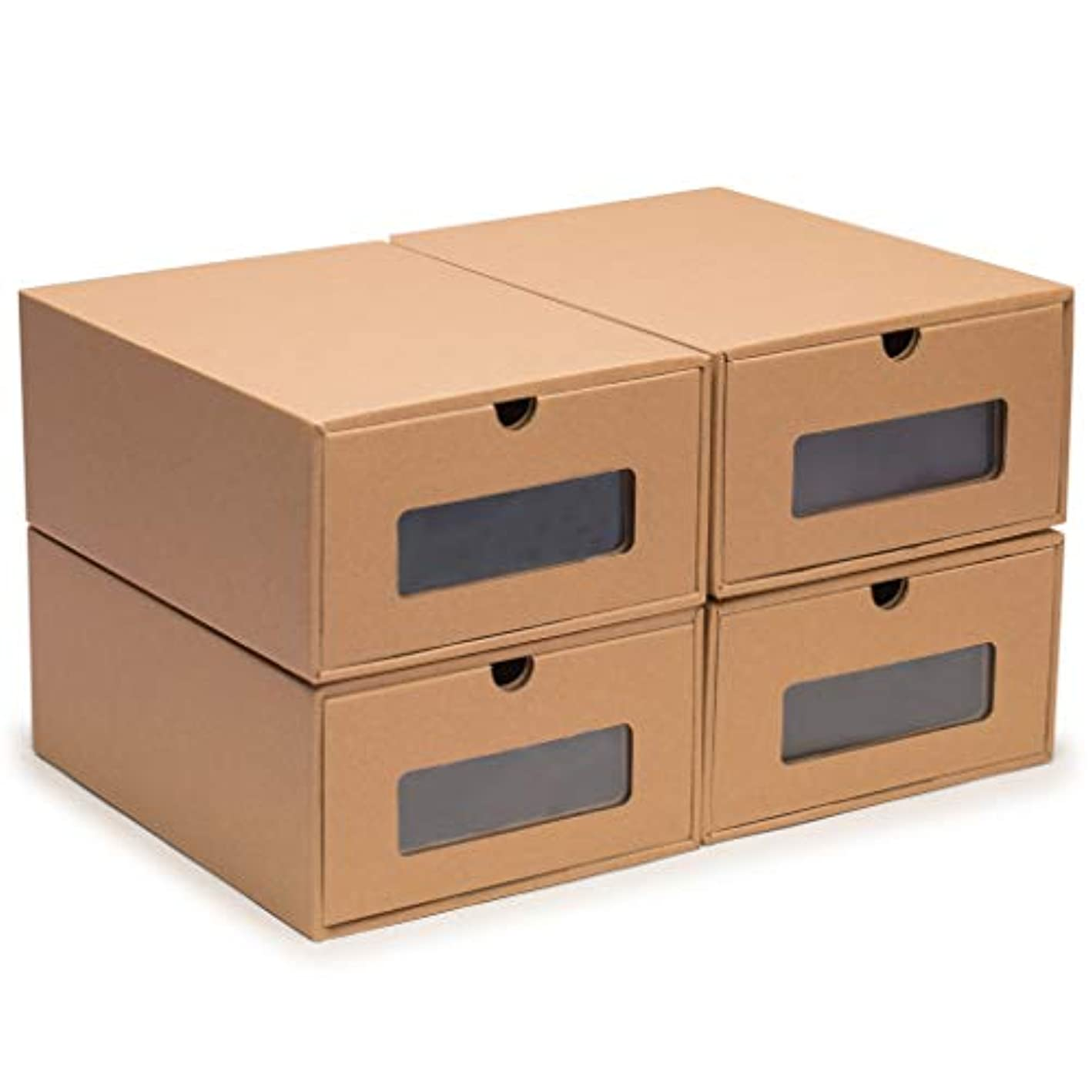 Nicely Neat Transparent Shoe Box Drawers - Stackable Storage Organizer Case for Women's Shoes - Set of 4