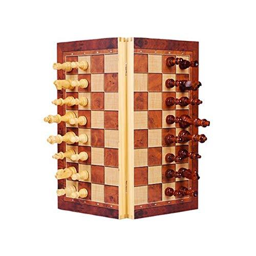 MJS Chess, Wooden High-End-Schachspiel Folding Storage Board Puzzle Brettspiel Wettbewerb Chess (Farbe : Brown)