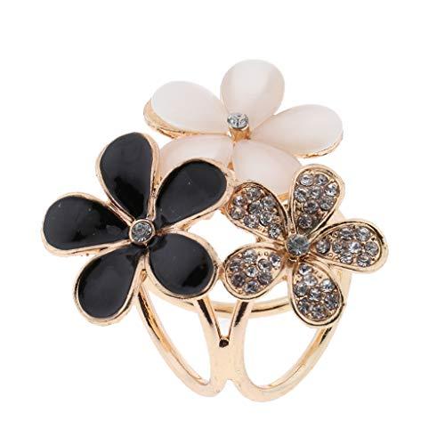 IPOTCH Hebilla de Bufanda Forma de Flor Metálica con Diamantes Artificiales Broche de Pañuelo Clip de Mantón Sostenedor de Chal - Negro, tal como se describe
