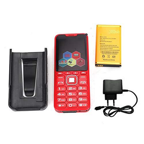 Xinwoer Teléfono móvil 2G, H08 3.0in Cuatro Tarjetas Cuatro Altavoces Grandes Rectos en Espera Botón Grande con cámara Teléfono de 4 Bandas (100-240V)(EU -Red)
